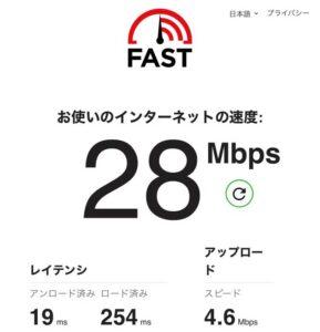 クイックWiFi 通信速度測定結果 6/27 28Mbps