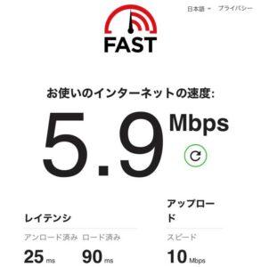 クイックWiFi 通信速度測定結果 6/27 5.9Mbps